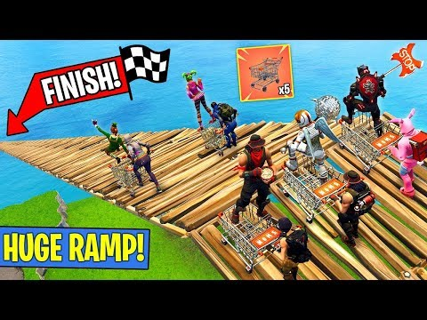5 SHOPPING CARTS 1 HUGE RAMP RACE! (Fortnite FAILS & WINS #10)
