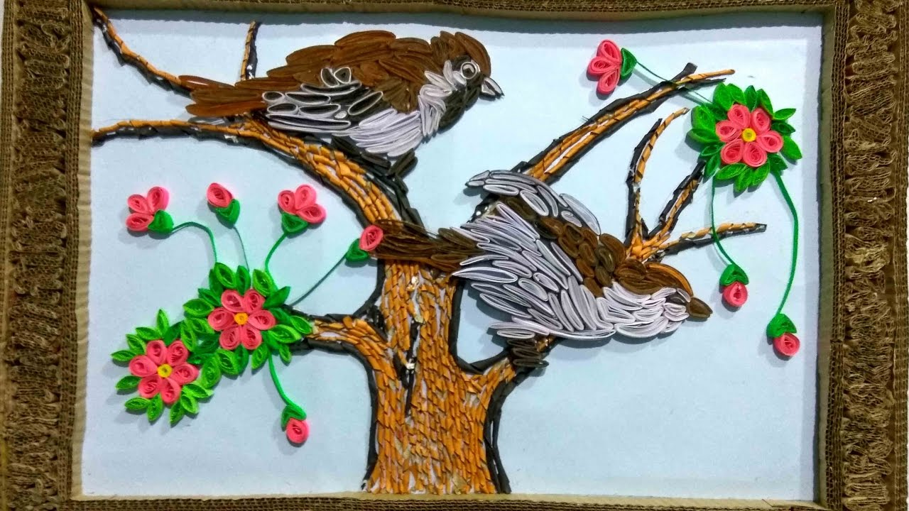 How to make beautiful wall craft with waste paper all art for Art and craft from waste materials