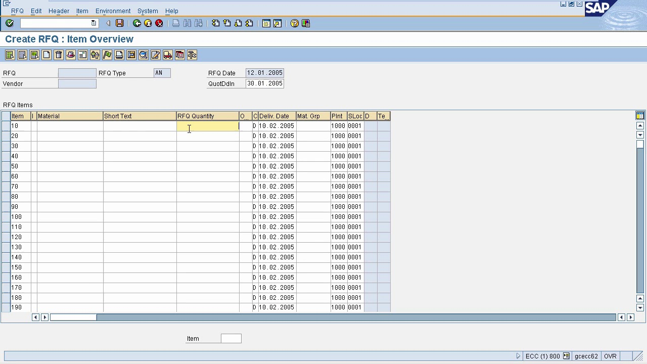 SAP MM - Request for Quotation (RFQ)