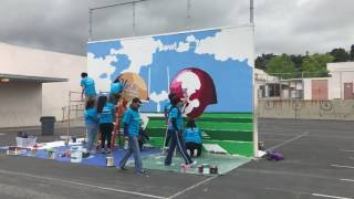 Community service day, volunteer mural