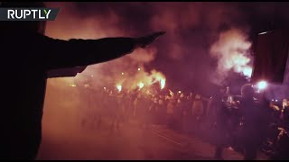 Nazi salutes & torches: Far-right activists rally in Madrid