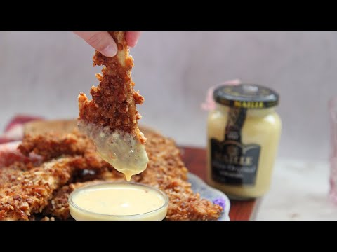 baked spicy chicken tenders with honey mustard sauce