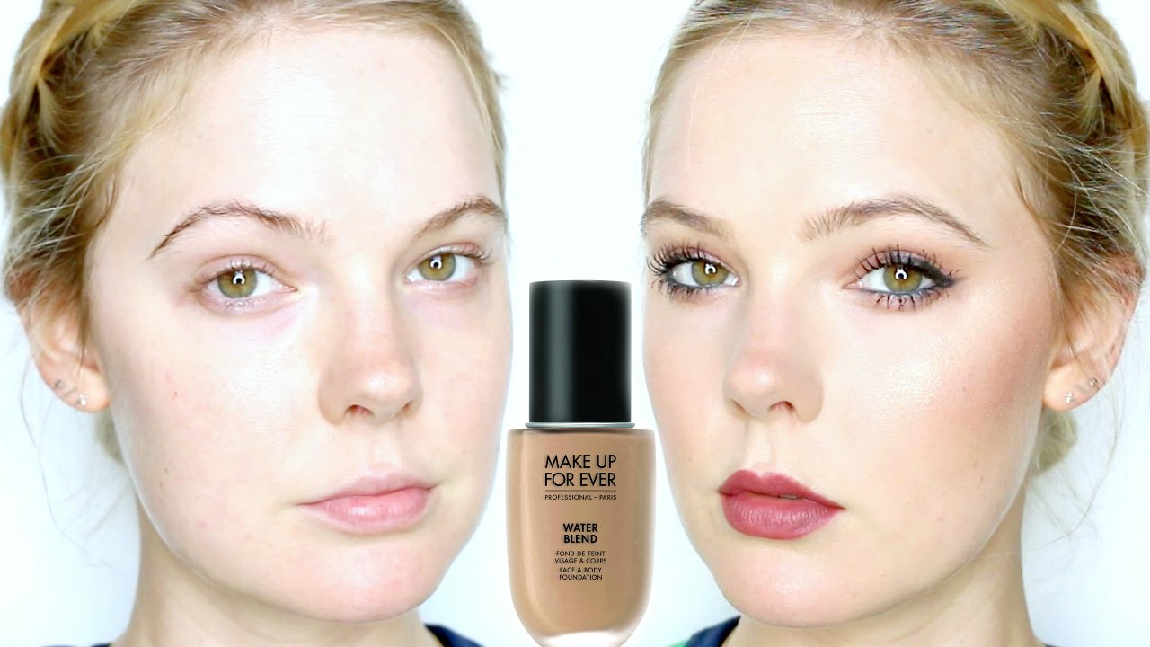 MAKE UP FOR EVER WATER BLEND FOUNDATION REVIEW - YouTube