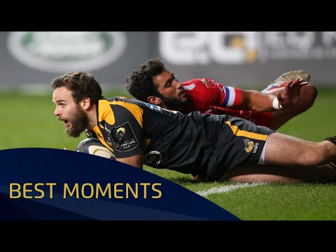Ruaridh Jackson finishing off a magnificient try against Toulon  - Champions Cup