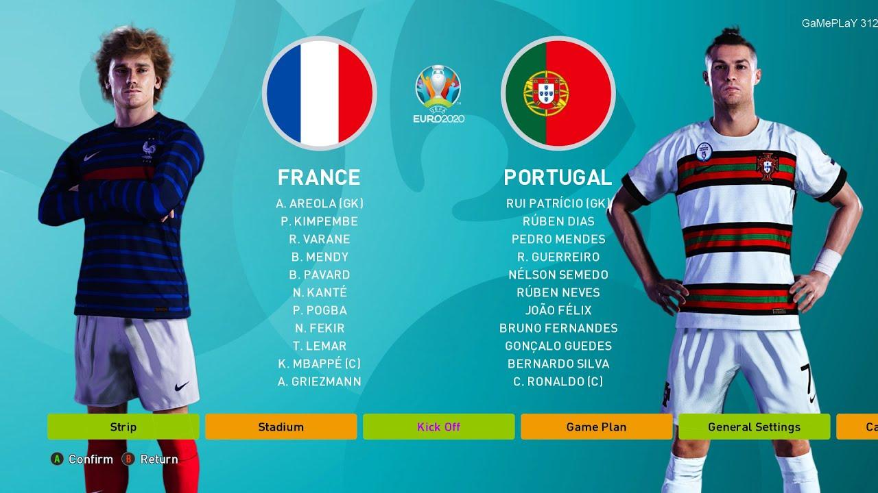 Download PES 2020 - FRANCE vs PORTUGAL - UEFA EURO 2020 - C.Ronaldo goal vs Mbappe goal - Gameplay PC