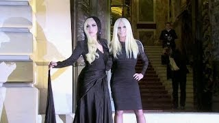 Lady Gaga and Donatella Versace photocall at 2014 Versace show in Paris