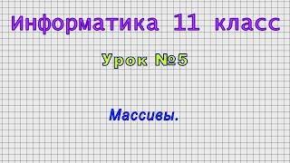 Информатика 11 класс (Урок№5 - Массивы.)