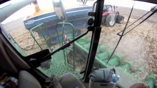 John Deere 9770 Combine with 12 Row Corn Head in cab operators view harvesting Corn Fall 2011 in HD!