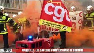 Grève à Marseille : les sapeurs pompiers du SDIS 13 au cœur de la manifestation