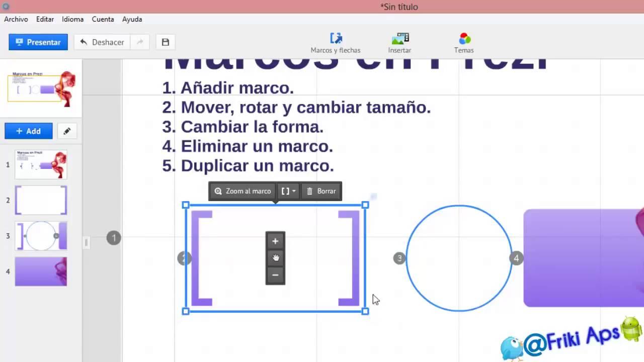 Añadir Modificar y Eliminar Marcos en Prezi 720p - YouTube
