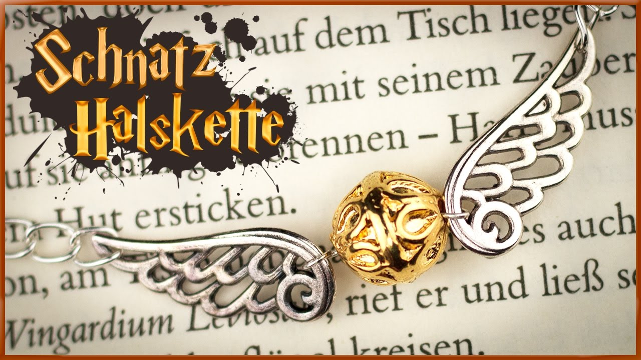 diy goldener schnatz halskette harry potter schmuck. Black Bedroom Furniture Sets. Home Design Ideas