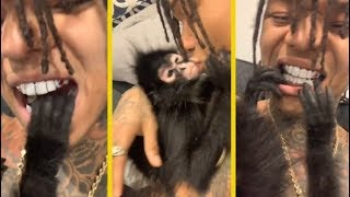 Swae Lee's Pet Monkey Admires His Diamond Grill!