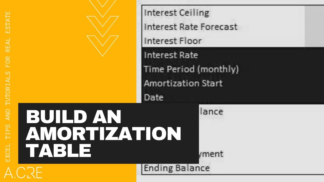 how to build a dynamic amortization table in excel youtube