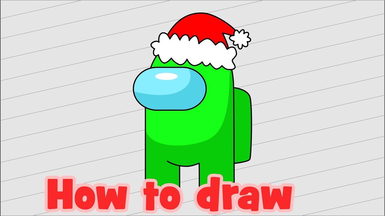 How to draw Among Us character Santa Claus - Как нарисовать Амонг Ас Деда Мороза