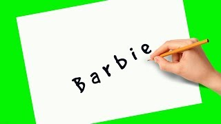 How to turn words Barbie into a cartoon Barbie for kids. Drawing tutorials.