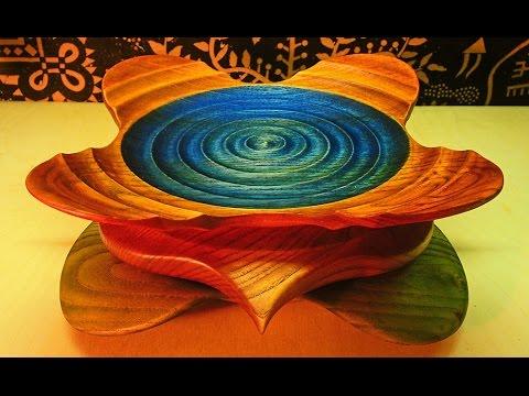 "Tokar Art 34 Woodturning ""Drop in the Ocean"" Wave Square Bowls"