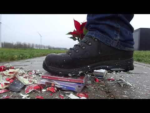 Christmas special Lowa Hiking Boots stomp and destroy Xmas balls, CD's and plant / flowers