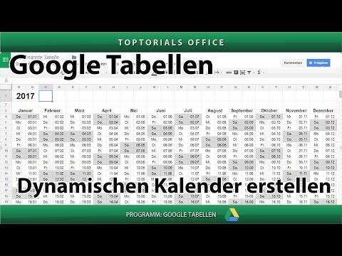Dynamischen Kalender erstellen (Google Tabellen / Spreadsheets)