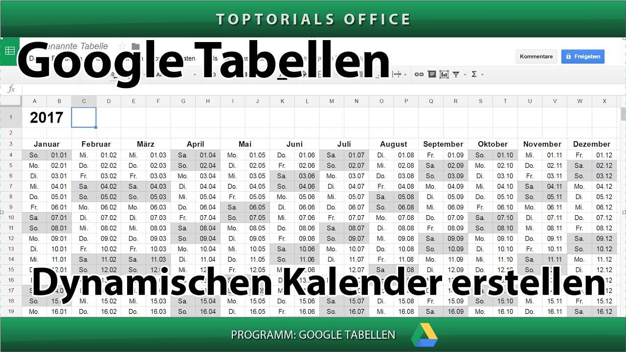 Dynamischen Kalender erstellen (Google Tabellen