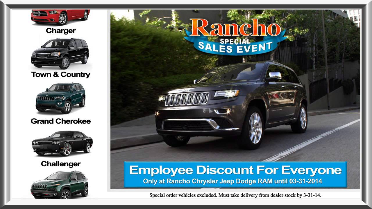 Employee Pricing At Rancho Chrysler Jeep Dodge Ram!