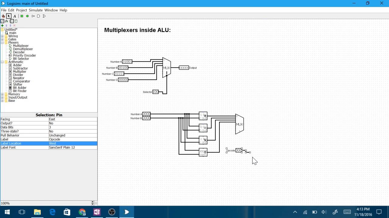 4 Bit Alu In Logisim Youtube Circuit Diagram Of 8