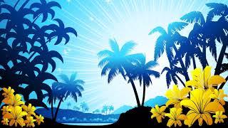 Картинка векторная. Пальмы, небо, море | Vector picture. Palms, sky, sea
