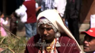 Women in traditional Rung dress in Pangu, Uttarakhand