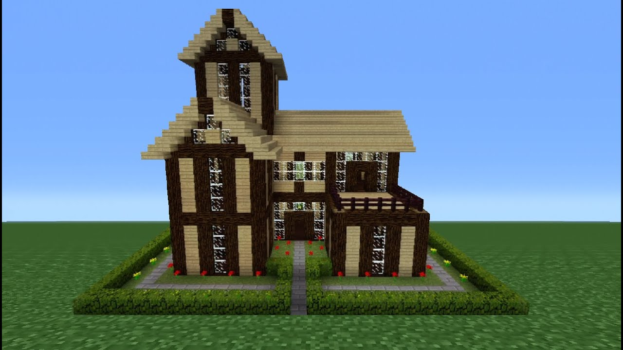 Minecraft tutorial how to make a wooden house 9 youtube for Classic house tutorial