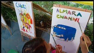 Belajar Mewarnai Gambar Bus Tayo Dan Spongebob Vinepk