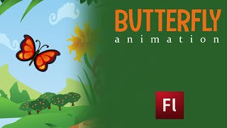 Flash Animation Tutorial - Animate Butterfly and leaf with add motion guide.