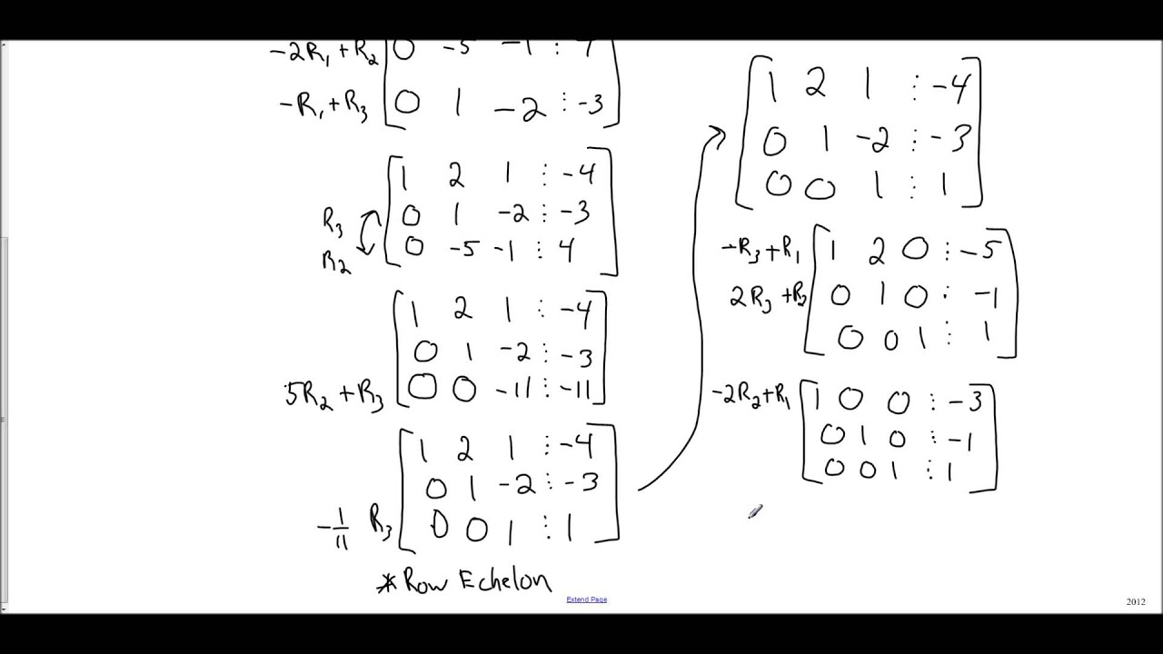 Matrices - Reduced Row Echelon Form - YouTube