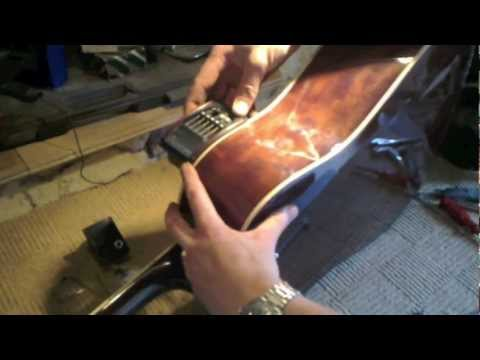 How to install piezo pickup and preamp into acoustic guitar - YouTube