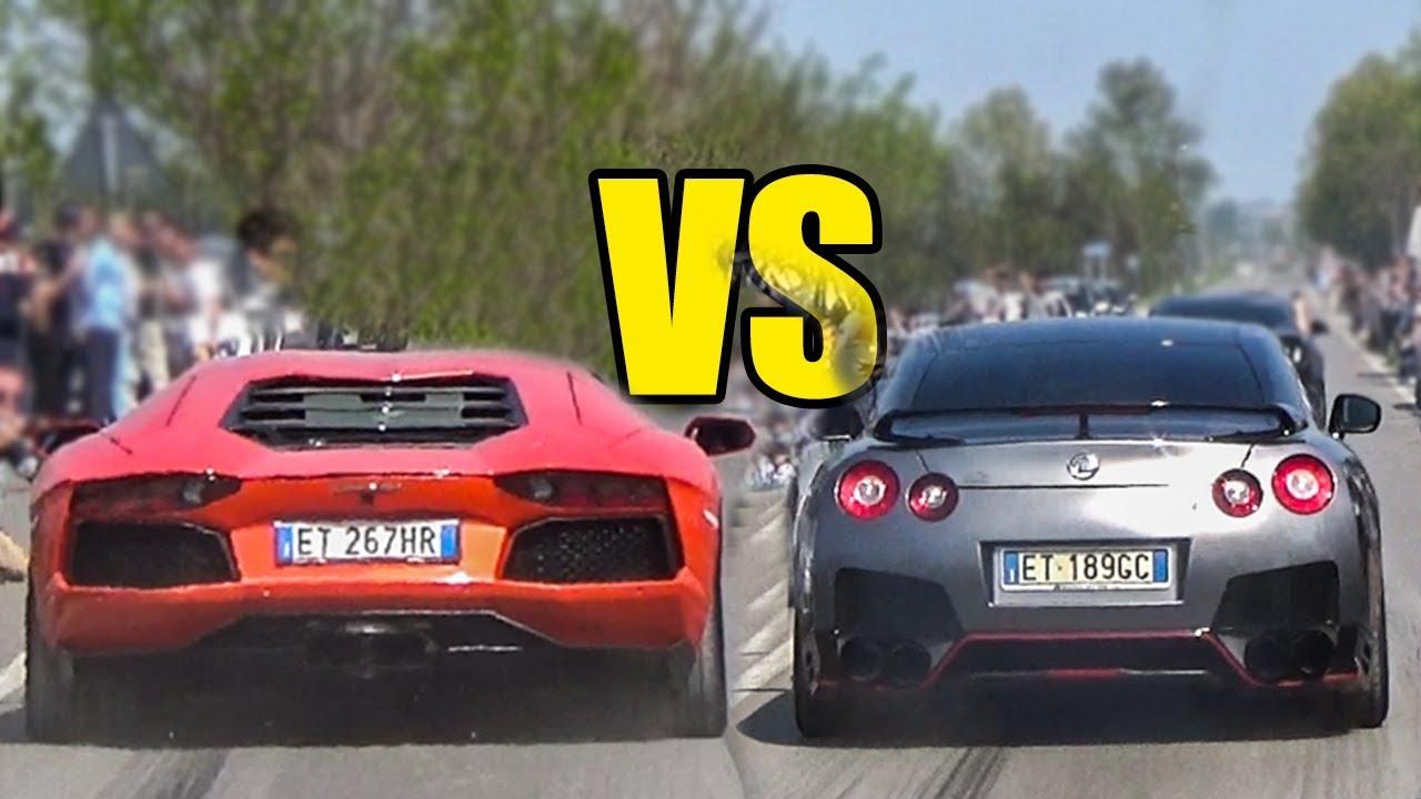 nissan gtr vs lamborghini aventador - exhaust sound battle - youtube