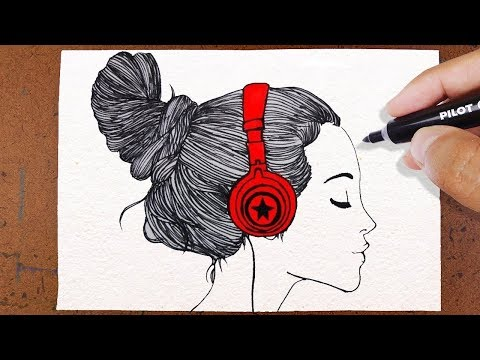 como desenhar garota tumblr ouvindo música Лучшие приколы