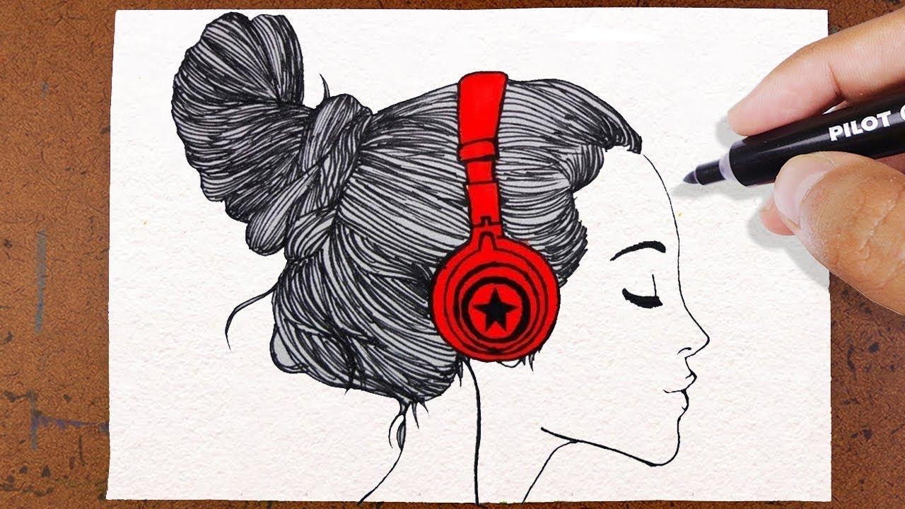 Desenhos Tumblr De Mão Estalando Como Fazer: COMO Desenhar GAROTA TUMBLR , Ouvindo Música