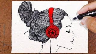 COMO Desenhar GAROTA TUMBLR , Ouvindo Música ♪♩