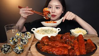 SUB)매운 돼지갈비찜 먹방 ! (ft.중국당면 팽이버섯 가래떡) 주먹밥에 콘치즈계란찜까지 리얼사운드 Spicy galbijjim rice ball mukbang ASMR