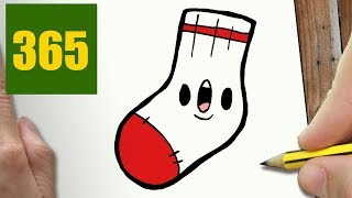 HOW TO DRAW A SOCK CUTE, Easy step by step drawing lessons for kids