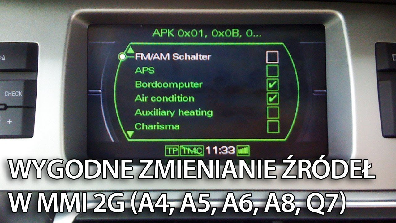 Convenience Source Switching Activation In Audi Mmi 2g A4 B8 A5 A6 C6 A8 D3 Q7 Youtube