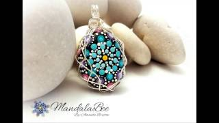 "Mandala Pendant ""Princess"" - Wire wrapped"