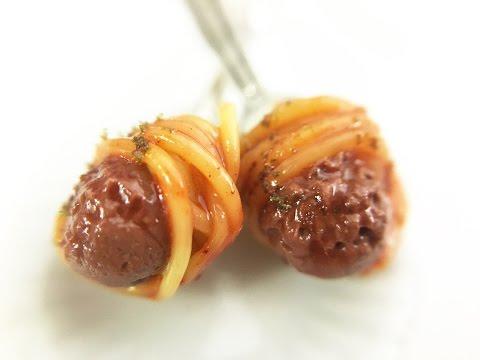Polymer clay tutorial - Miniature food tutorial - Spaguetti and meatballs earrings