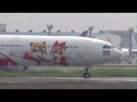 灼熱の成田 初飛来?ド派手なスペシャルマーキング Thai AsiaX A330 HS XTD Rwy16R Takeoff 成田空港 nrthhh