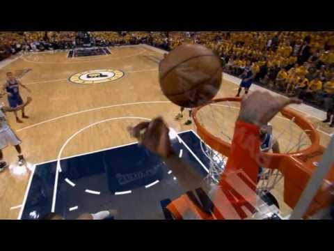 Roy Hibbert Rejects Carmelo Anthony at the Rim