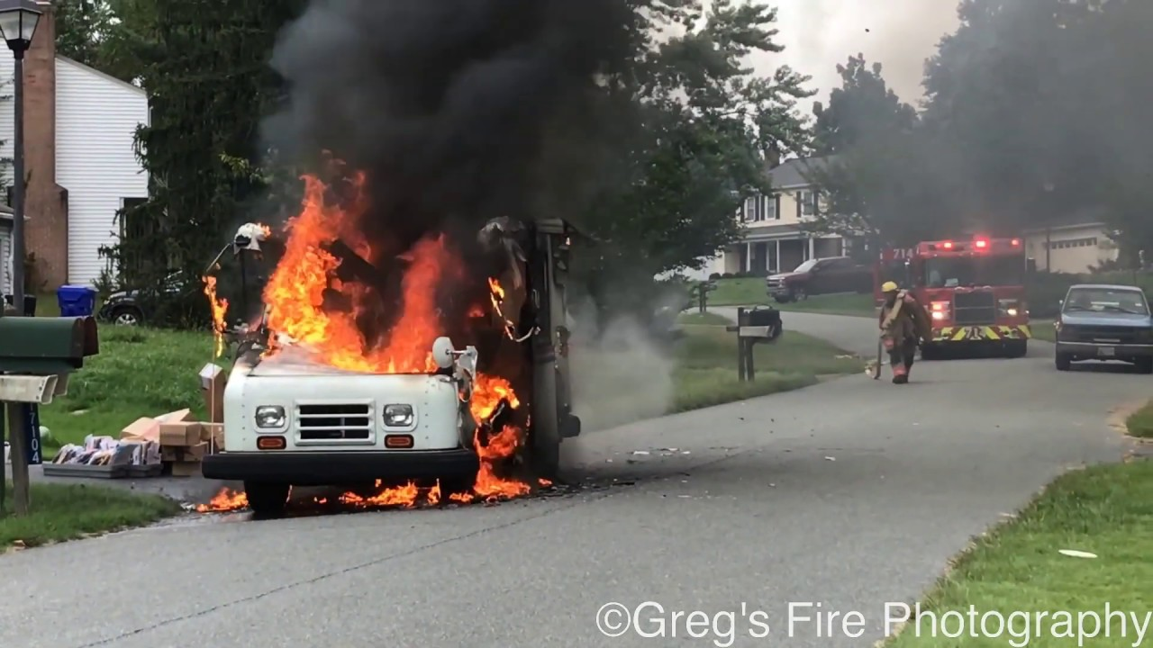 PRE ARRIVAL FULLY INVOLVED MAIL TRUCK FIRE WITH EXPLOSION