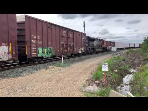 Railfanning on the CN mainline east of Edmonton, Alberta, Canada