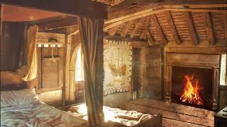 medieval bedroom fireplace cottage asmr