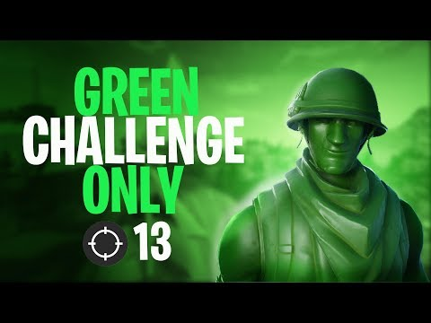 The Green ONLY Challenge In Fortnite! New OP Skin!