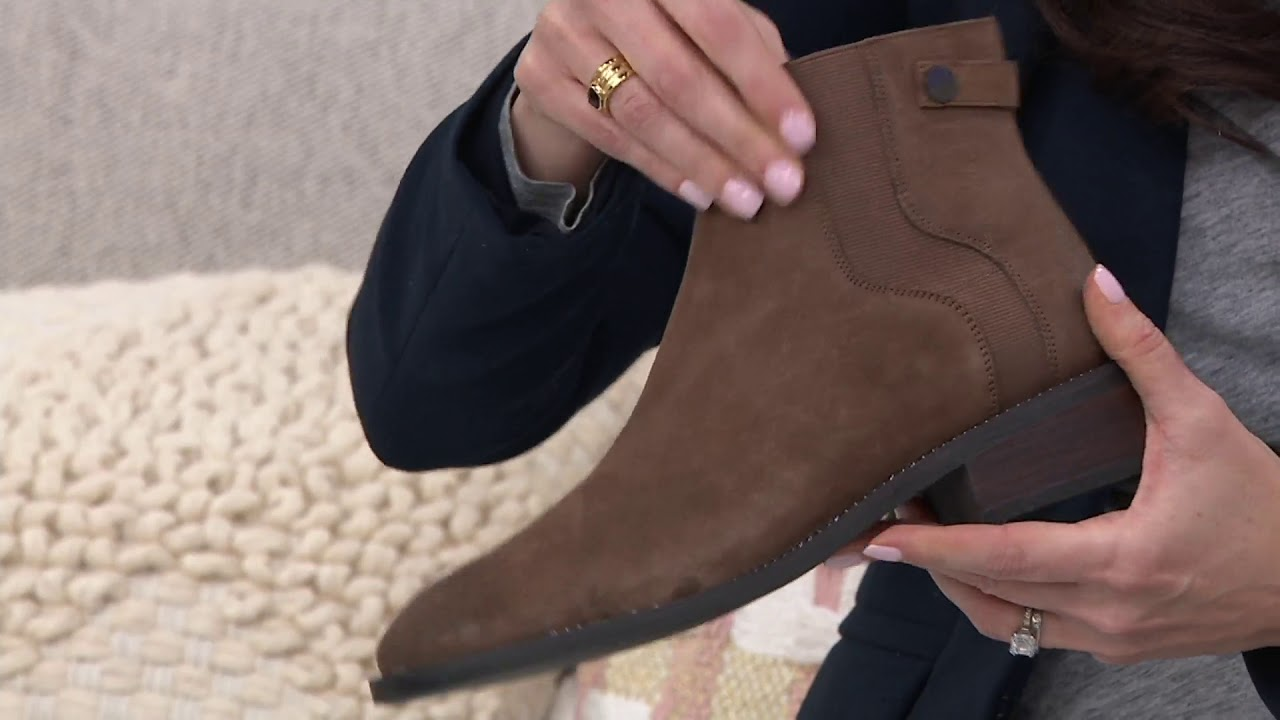 242594bb088c Franco Sarto Leather Ankle Boots - Brandy on QVC - YouTube