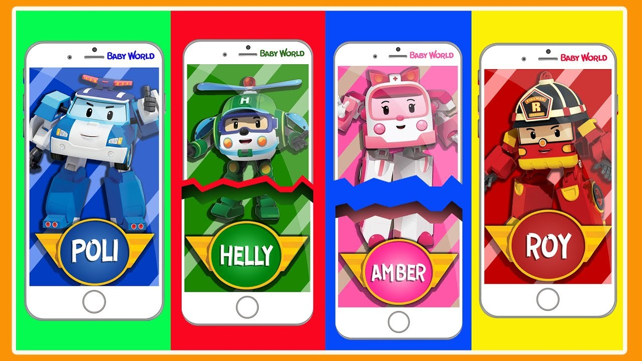 Learn Colors With Robocar Poli Cartoon Mobile Phones Sürpriz Boyama