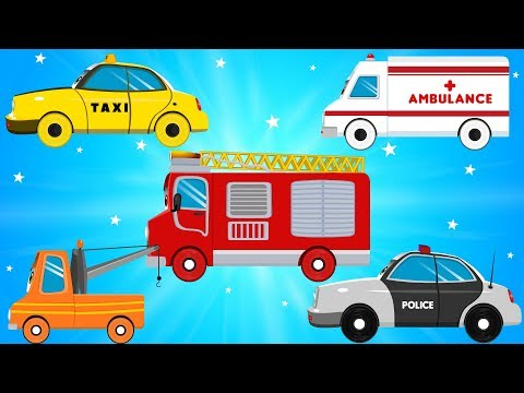 Fire Truck Police Cars Emergency Vehicles & Ambulance in Car City Garage - Songs & Rhymes for Kids